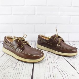 LL Bean Brown Leather Boat Shoes Size 9 Wide